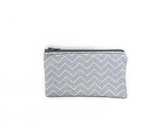 Summer Clearance Pocket Zipper Case, Change Purse, Card Case, Coin Purse, Gray and White Chevron 8752 8753
