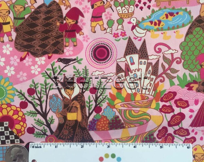 SNOW WHITE Pink Sweet Fairy Tale Quilt Fabric - by the Yard, Half Yard, or Fat Quarter Fq Whimsical Japanese Anime Style Artwork 7 Dwarfs