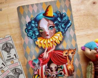 Penelope's Imaginarium Postcard, Circus Girl, Clown Girl, Vintage Circus, Postcrossing