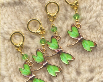 Dragonfly Knitting Stitch Markers Green Enamel Goldtone Dragonflies Set of 4 /SM116B
