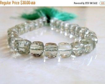 Deep Discount Sale Prasiolite Green Amethyst Gemstone Faceted Cube 8.5mm 11 beads 1/2 strand