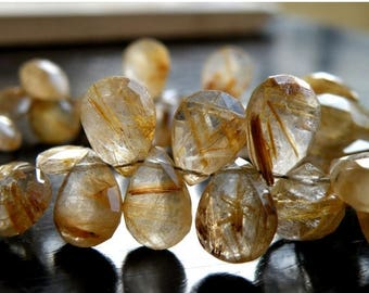 Deep Discount Sale Rutilated Quartz Briolette Gemstone Golden Faceted Pear Teardrop 10 to 10.5mm 12 beads