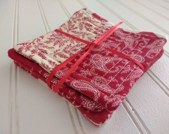 Set of 4 Quilted Coasters - Reds and Whites