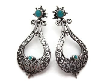 Sterling Turquoise Earrings - Filigree Silver Pierced Chandeliers