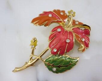 Enamel Flower Brooch - Red Orange Yellow Green Hibiscus Costume Jewelry Jose Barrera for Avon