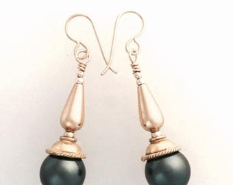 Summer Sale Swarovski Tahitian Pearl Tone Crystal Earrings with 24 Ct Gold Fill and French Hooks