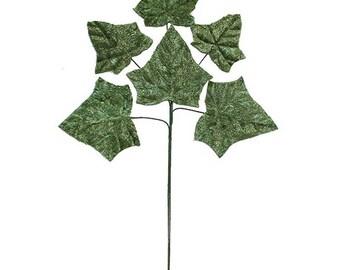 Velvet Ivy Leaves Green Millinery   NL002G