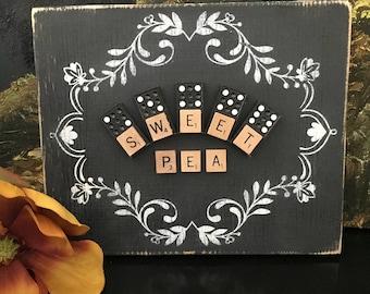 Sweet Pea Nursery Decor - Black & White Cottage Decor - Farmhouse Decor - Scrabble Tile Sign - Pink Sweet Pea Sign