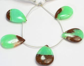 Natural Matrix Chrysoprase Smooth Pear Briolette Beads (5)