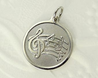 Vintage Sterling Silver Music Charm Treble Clef & Note