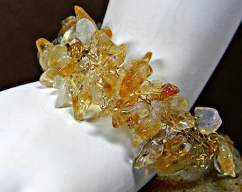 Citrine Bracelet Wire Crochet in Gold Filled; Handmade Wide Gemstone Bracelet; Anniversary Birthday Gift for Her; Good Luck Bracelet; Ooak