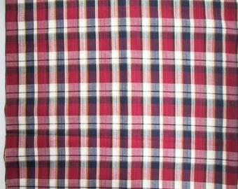 Vintage Fabric, 3 Plus Yards of Vintage 1980  Lightweight Cotton Madras Plaid Clothing, Shirting, Dress Fabric, Curtains,  Fabric
