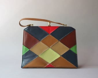 1960s Purse / Vintage 60s Faux Leather Harlequin Bag / 1950s Brown Navy and Red Handbag