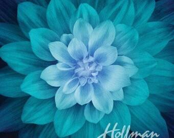 "Supernova Flower Teal Dream Big Digital 43"" Fabric Panel"