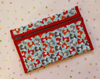 Quilted Zipper Pouch (MB021) Foxes