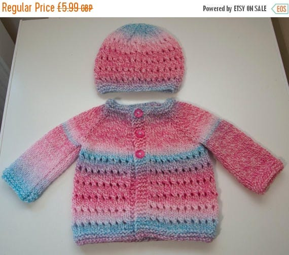 Christmas In July Handknitted Girls Cardigan And Hat for 0-3 Month Old.