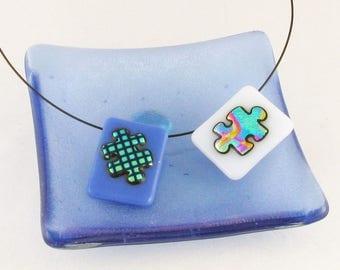 Puzzle Piece pendant - Autism Awareness - dichroic jewelry - Autism necklace - (1545-3908)