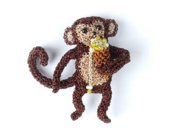 Monkey brooch, monkey eating ice cream - monkey jewelry, animal pin, food jewelry, cute animal brooch