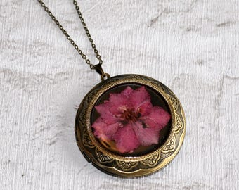 Pink Flower Locket Necklace, Floral Necklace, Flower Locket Necklace