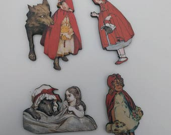 4 x Little Red Riding Hood Wooden Brooches - Big Bad Wolf