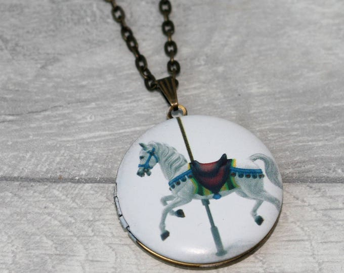 Carousel Horse Locket Necklace, Horse Necklace, Merry-go-round Jewelry