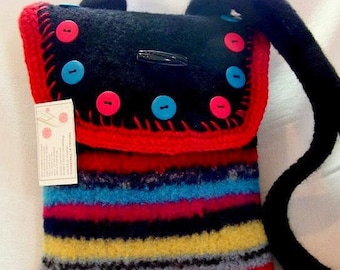 Beautiful Multi Colored Felted Shoulder Bag, Brocade Lining, Button Closure