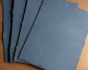 Navy blue paper, handmade paper, eco friendly paper, recycled paper, textured paper, homemade paper, decorative paper, blue paper, navy