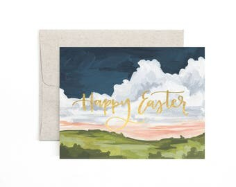 Happy Easter Landscape // Illustrated Card -  Boxed Set of 8 // 1canoe2