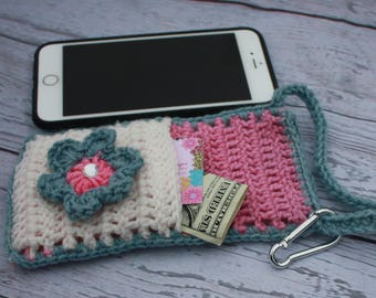Cross body cell phone bag, cell phone pouch, crochet bag, cell phone sleeve, phone case, gift for her, gift under 20, cell phone carrier