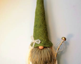From my 2017 Collection, Gnome, forest gnome, tomte, Nordic gnome, wool felt, faux fur, Swedish gnome