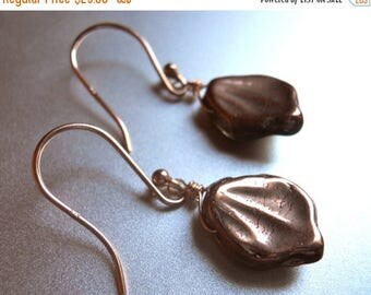 QUICKIE SALE 15% OFF, Fall Czech Glass Leaf Earrings, Rose Gold Look, Nature Earrings, Leaf Earring, Rose Gold Earrings, Gift Idea