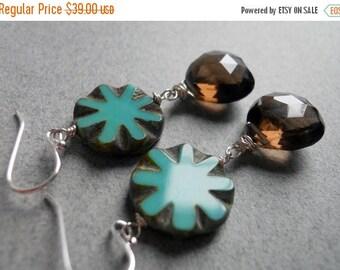 20% off FLASH SALE, Pinwheel Smoky Quartz and Turquoise Czech Glass Earrings