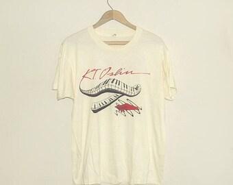 1980s t shirt / vintage 80s tshirt / size large l / music / K.T. Oslin Tour T-Shirt