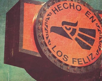 SALE photography, hecho en Los Feliz, Los Angeles photograph California neighborhood spanish sign orange green, industrial, for him, loft de