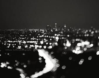 black and white Los Angeles photograph, LA skyline print, night photo, bokeh, abstract decor, modern wall art, cityscape, dorm decor
