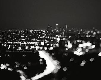 black and white Los Angeles photograph, LA skyline print, night photo, bokeh, abstract decor, modern wall art, cityscape, dorm decor