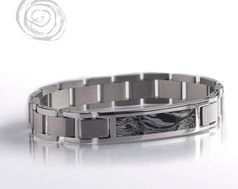Mokume Gane Bracelet, Exotic Metal Interchangeable Bracelet Set, Stainless Steel Modular Jewelry