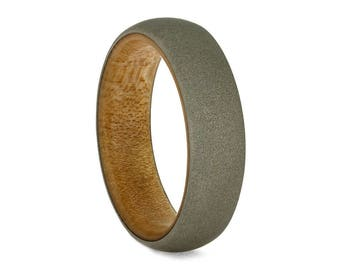 Sandblasted White Gold Ring, Wedding Band With Bamboo Wood Sleeve, Hypoallergenic Ring