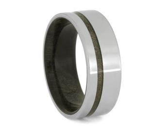 Buckeye Burl Wood Wedding Band, Men's Titanium Ring With Wood Sleeve And Pinstripe, Customizable Jewelry