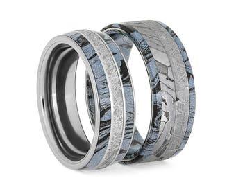 Cobaltium Mokume Ring Set, Matching Meteorite Wedding Bands, Gibeon And Seymchan Rings, Cosmic Jewelry