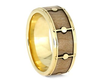 Drum Ring With 14k Yellow Gold, Maple Wood Ring For Musicians, Band Jewelry