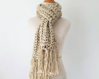 READY TO SHIP Chunky Scarf, Fringe Scarf, Knit Scarf, Traditional Scarf, Scarf for Women, Crochet Scarf, Ribbed Scarf, Textured Scarf