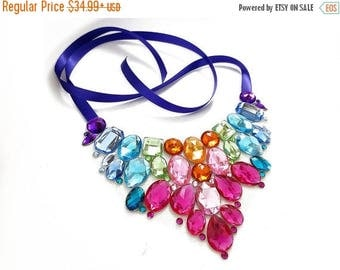 ON SALE Bright Rainbow Rhinestone Statement Necklace, Colorful Rainbow Bib Necklace, Pastel Rainbow Crystal Statement