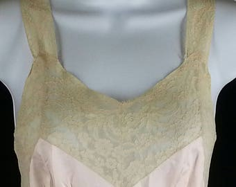 Vintage rayon satin slip nightgown 50s 60s lace trim size small s extra small xs