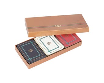 GUCCI Vintage 3 Decks FRENCH PLAYING Cards w/ Box