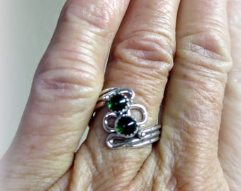 Green Chrome Tourmaline and Silver Ring