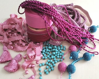 Colossal collection ribbons,trims,beads,tassels,pleated velvet