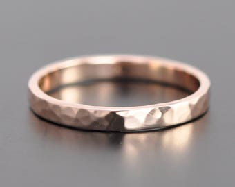 Hammered Rose Gold Ring, 14K Rose Gold 2.5mm band, Sea Babe Jewelry