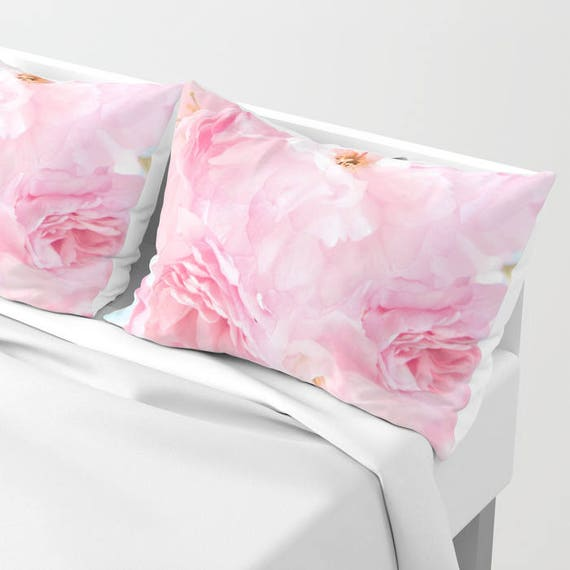 Soft Blue Sky with Pink Peonies Pillow Shams Set of 2, Pillow Cover, Dorm, Floral Decor, Pink bedroom, Petals, Flower Sham, Feminine, Dorm