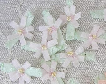 18 pc Delicate Powder Pink Handmade Baby Doll french knot ribbon bow flowers